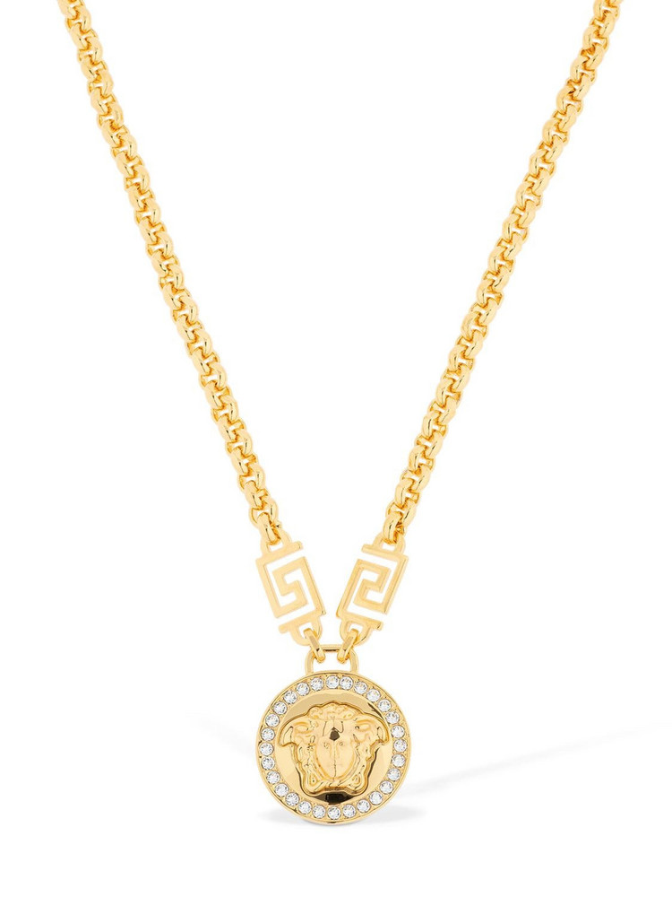 VERSACE Icon Crystal Medusa Necklace in gold