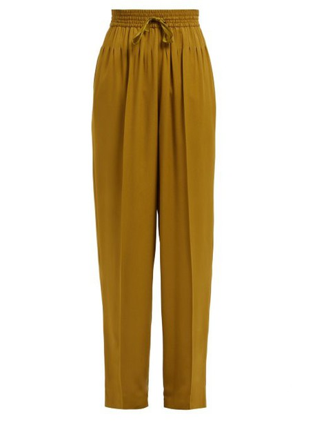 Haider Ackermann - Tailored High Rise Straight Leg Trousers - Womens - Khaki