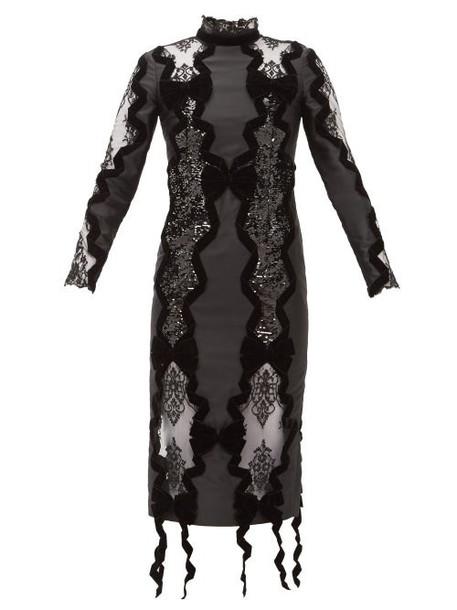 Erdem - Deletta Lace Insert Velvet And Sequin Fitted Dress - Womens - Black