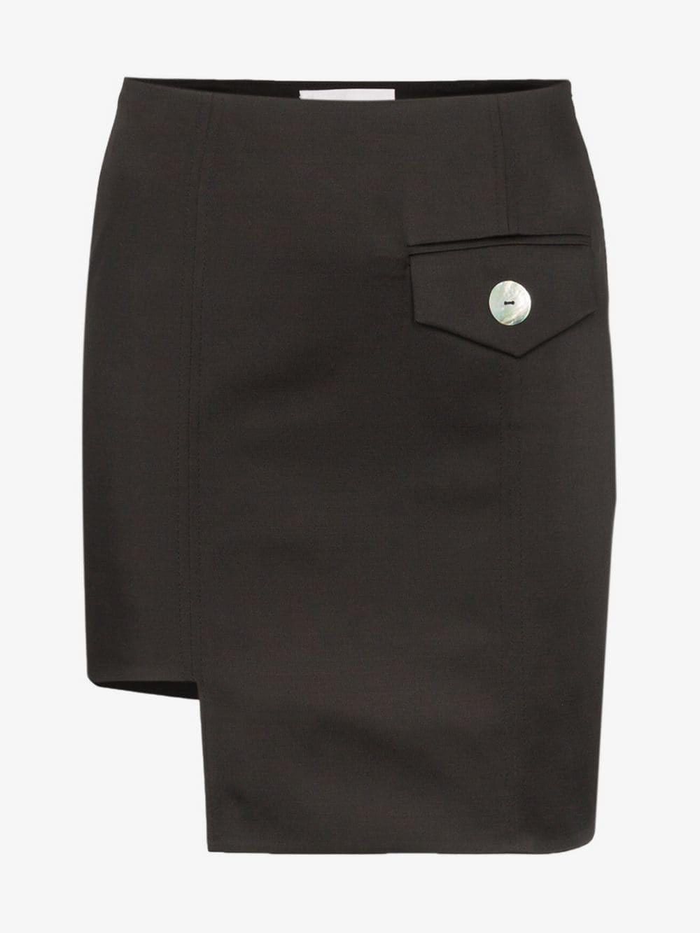 George Keburia envelope pocket asymmetric mini skirt in black