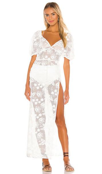 For Love & Lemons Crochet Daisy Cover Up Maxi in White