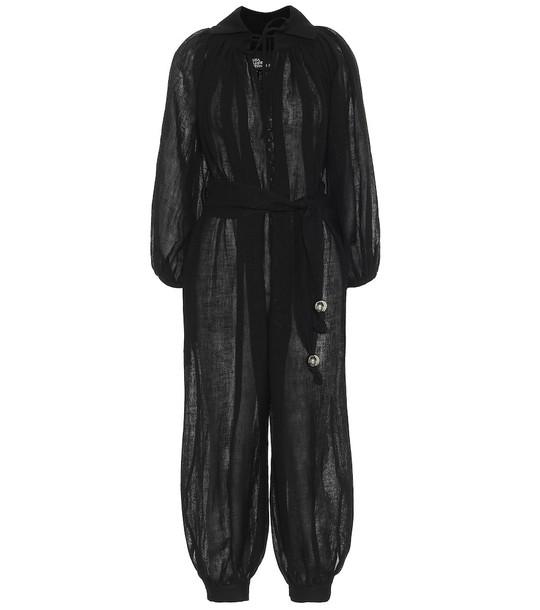Lisa Marie Fernandez Poet linen-blend jumpsuit in black