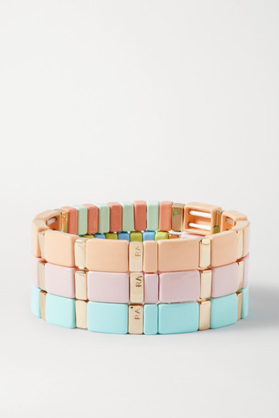 Roxanne Assoulin - Soft Serve Set Of Three Enamel And Gold-tone Bracelets - Pastel pink