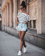 shorts,mini skirt,denim skirt,white sneakers,white t-shirt,stripes,bag