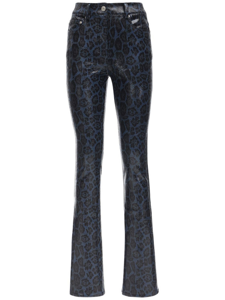 WE11 DONE Python Print Faux Leather Straight Pants in blue