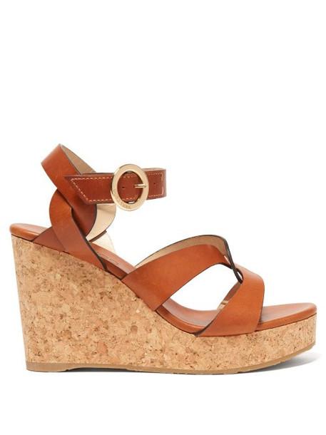Jimmy Choo - Aleili 100 Wedge Leather Sandals - Womens - Tan