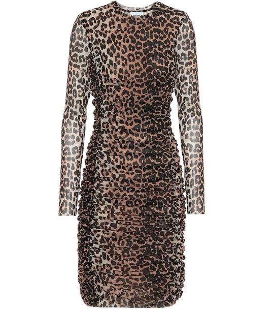 Ganni Leopard-printed minidress in beige
