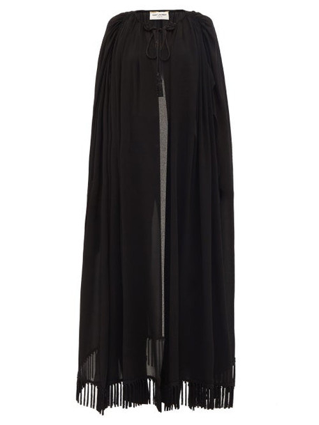 Saint Laurent - Tassel-fringed Long Crepe Cape - Womens - Black
