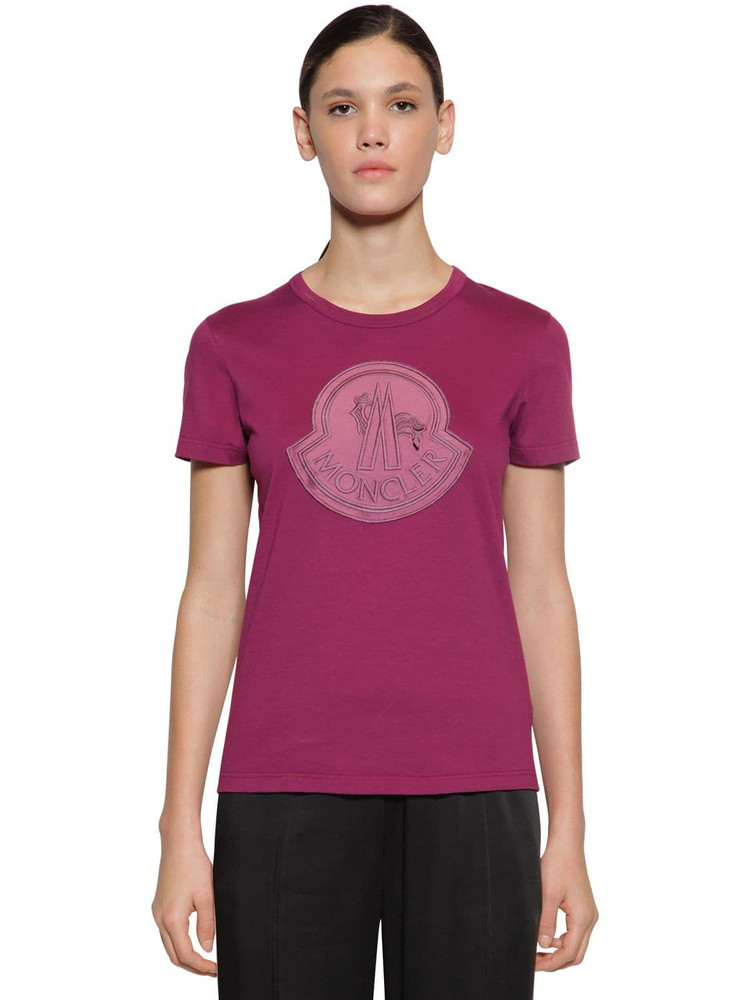 MONCLER Logo Cotton Jersey T-shirt in purple