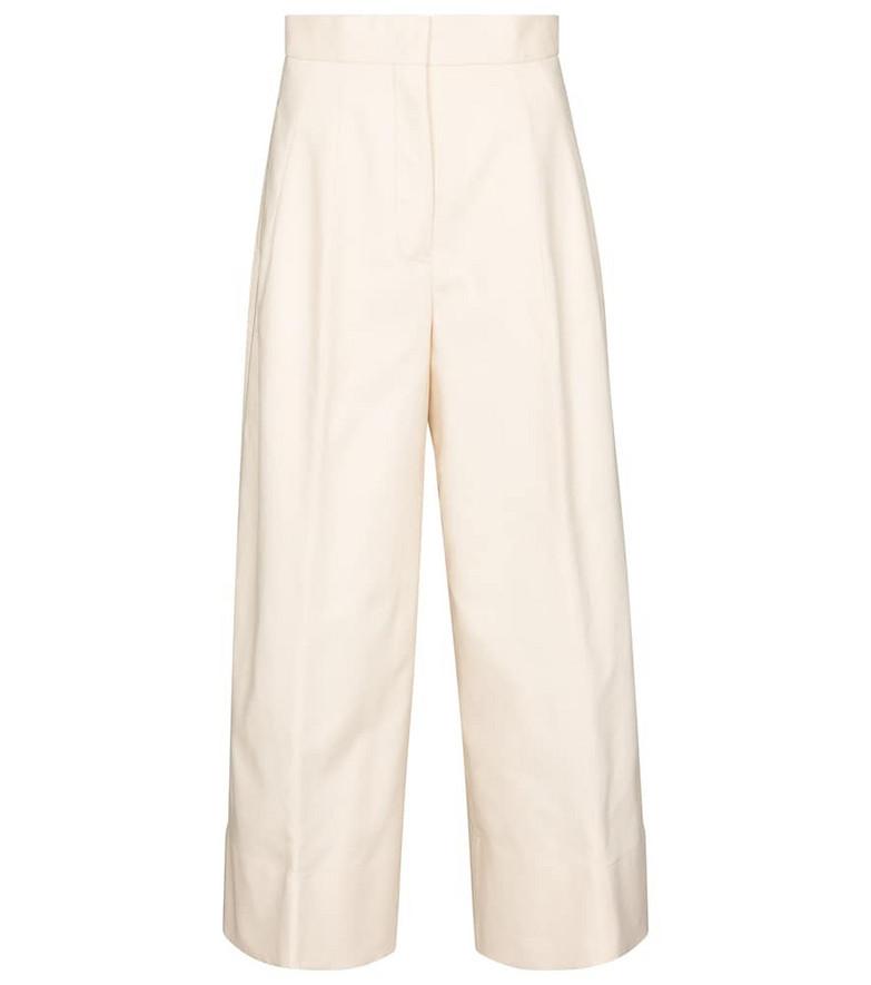Jil Sander Wide-leg cotton gabardine pants in beige