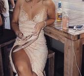 dress,light pink,lace dress,slit dress,tight