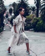 coat,trench coat,isabel marant,midi dress,sequin dress,mules,white bag
