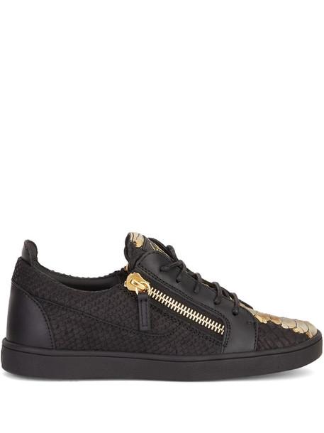 Giuseppe Zanotti Gail snakeskin-effect leather sneakers in black