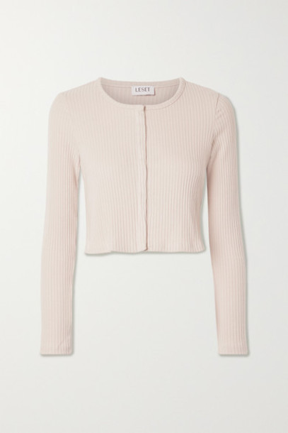 LESET - Alison Cropped Ribbed Stretch-jersey Cardigan - Pink