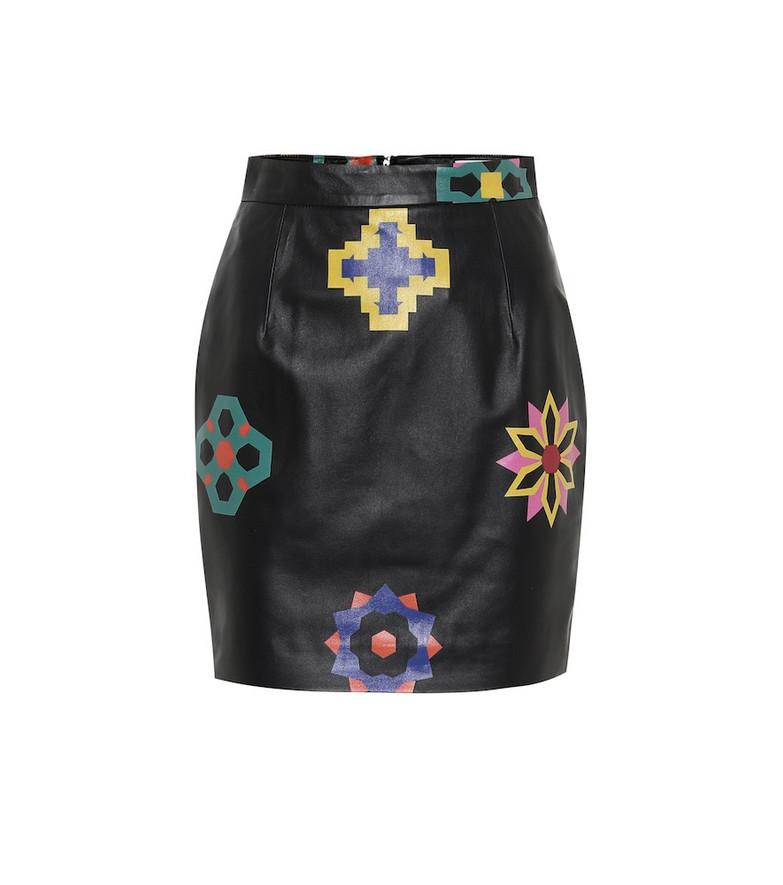 Kirin Printed high-rise leather miniskirt in black