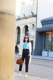 preppy fashionist,blogger,bag,sunglasses,cardigan,blouse,belt,pants,jewels,shoes,blue shirt,long cardigan,spring outfits