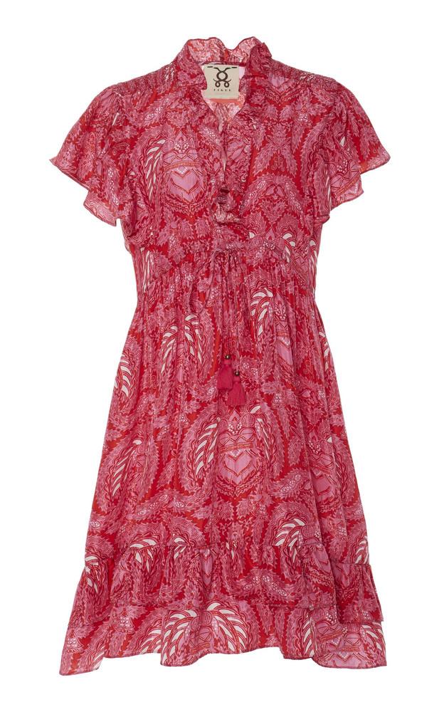 Figue Denissa Printed Silk-Chiffon Mini Dress in pink