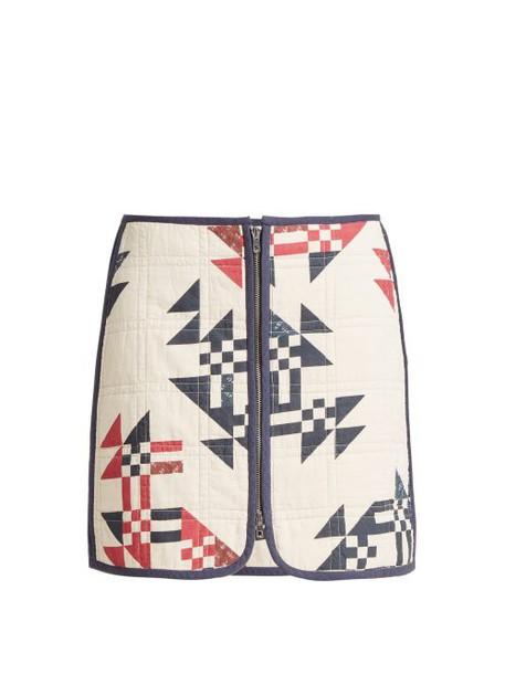 Isabel Marant - Lickly Geometric Print Mini Skirt - Womens - Cream Print