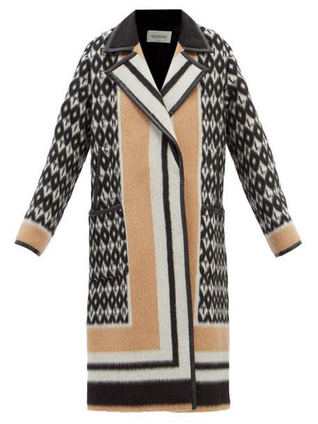 Valentino - Monogram-print Leather-trim Wool-blend Coat - Womens - Beige