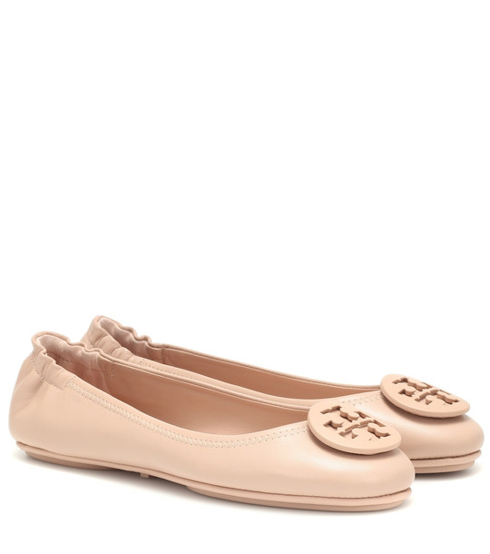 Tory Burch Minnie Travel leather ballet flats in beige