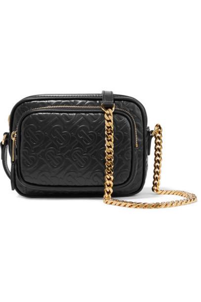 Burberry - Embossed Leather Shoulder Bag - Black
