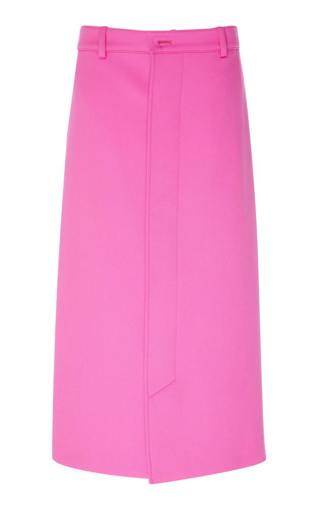 Balenciaga Twill Midi Skirt in pink
