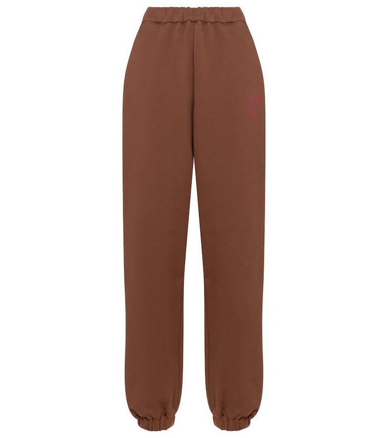 The Attico Cotton jersey sweatpants in brown