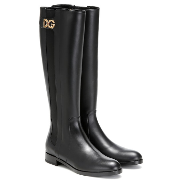 Dolce & Gabbana Knee-high leather boots in black