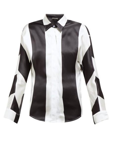 Dodo Bar Or - Noy Stripe Print Silk Satin Shirt - Womens - Black White