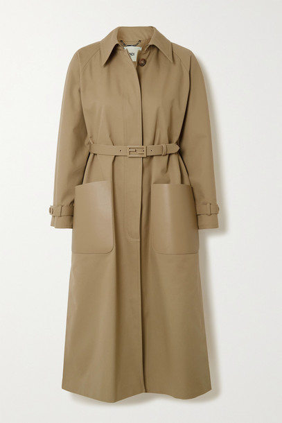 FENDI - Belted Leather-trimmed Twill Trench Coat - Neutrals