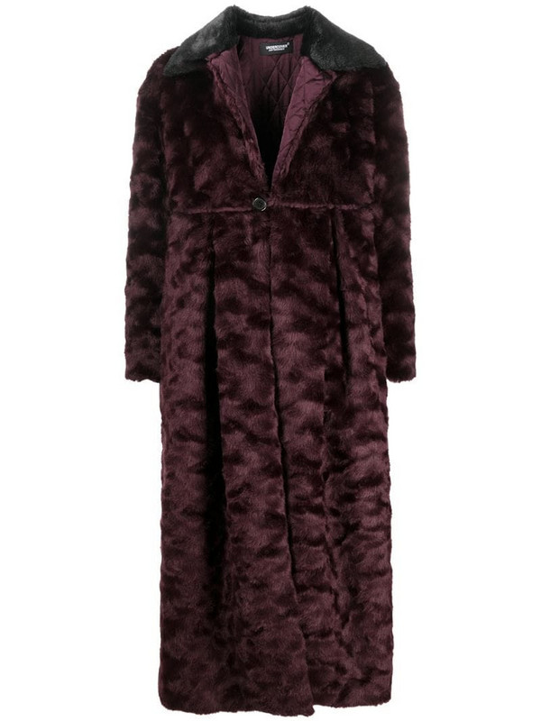 Undercover oversized faux fur coat in red