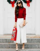 sweater,turtleneck sweater,red sweater,pumps,wide-leg pants,white pants,ysl bag,earrings