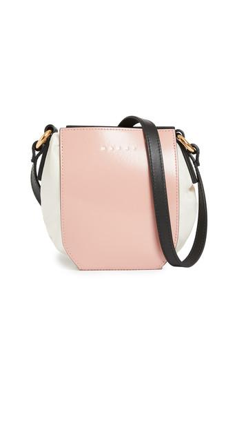 Marni Drawstring Shopping Bag in black / beige