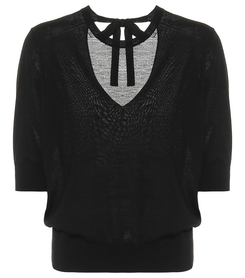 Dorothee Schumacher Sophisticated Softness wool and silk knit top in black