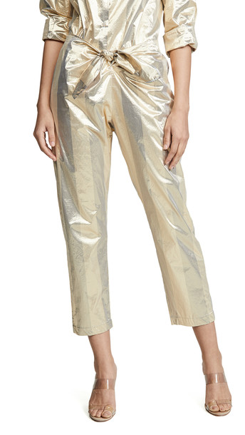 Forte Forte Metallic Chic Stripe Pants with Knot
