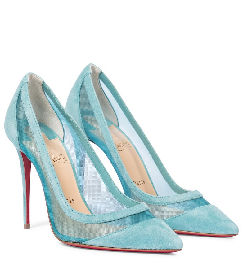 Christian Louboutin Galativi 100 suede and mesh pumps in blue