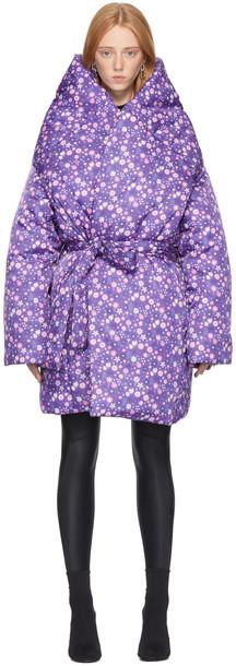 Balenciaga Purple Graphic Flower Scooter Coat