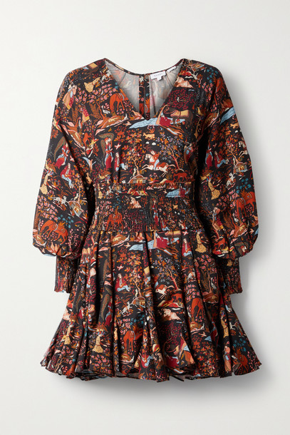 RHODE - Olivia Belted Printed Tencel-twill Mini Dress - Black