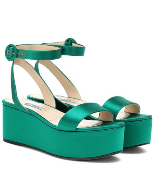 Prada Satin platform sandals in green