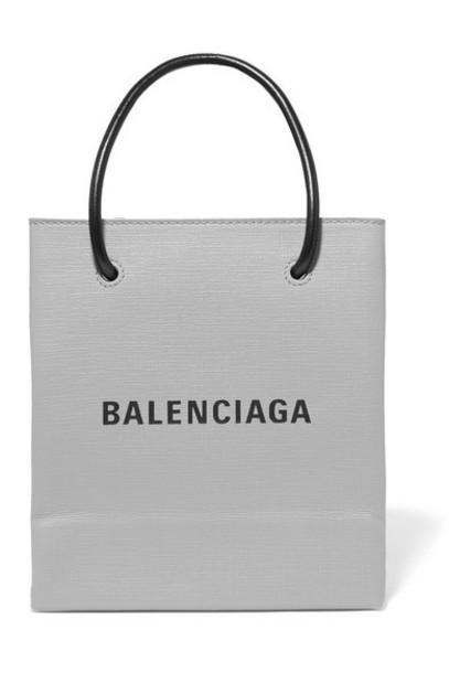 Balenciaga - Xxs Printed Textured-leather Tote - Gray