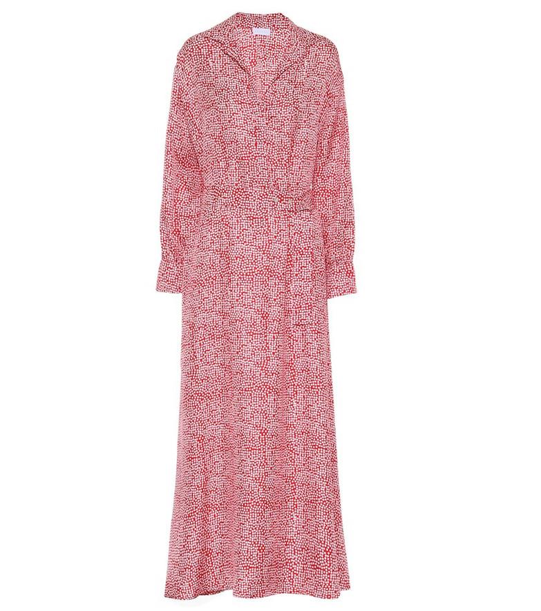 Asceno Porto printed silk maxi dress in red