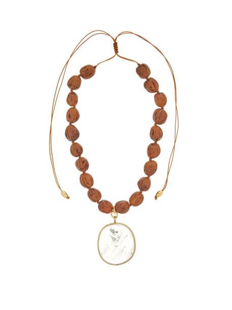 Tohum - Theia Quartz & Wooden-bead Choker - Womens - Brown