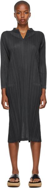 Pleats Please Issey Miyake Mellow Pleats Three-Quarter Sleeve Dress in black / charcoal