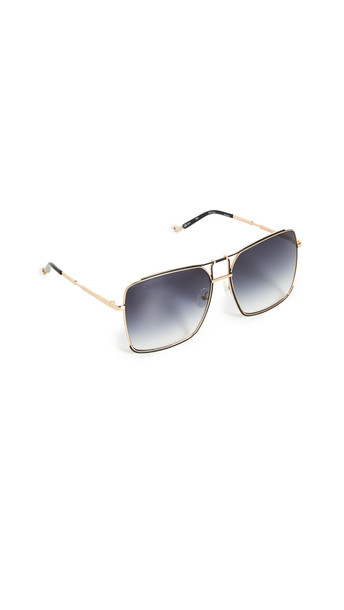 Linda Farrow Luxe Mathew Williamson x Linda Farrow Square Sunglasses in black / gold / grey / yellow