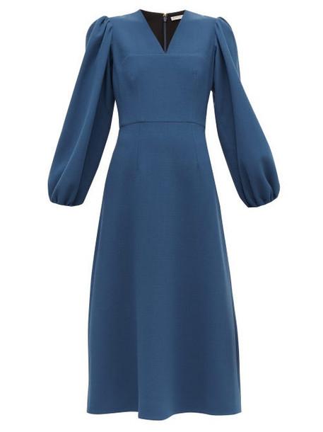 Emilia Wickstead - Carmina Balloon Sleeve Wool Crepe Midi Dress - Womens - Blue