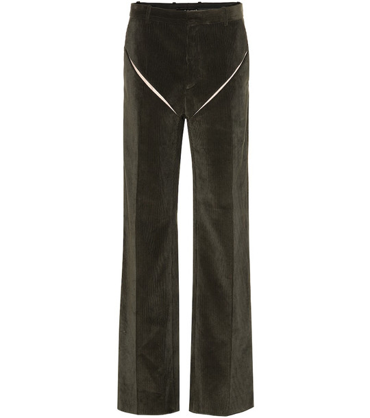 Y/PROJECT High-rise wide-leg corduroy pants in green