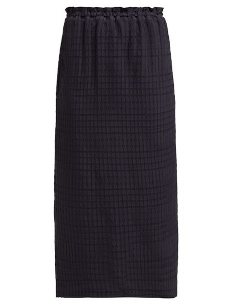 Raey - Seersucker Midi Skirt - Womens - Navy