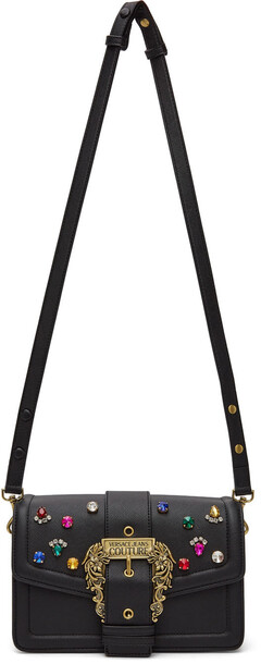 Versace Jeans Couture Black Jewelled Buckle Shoulder Bag in nero