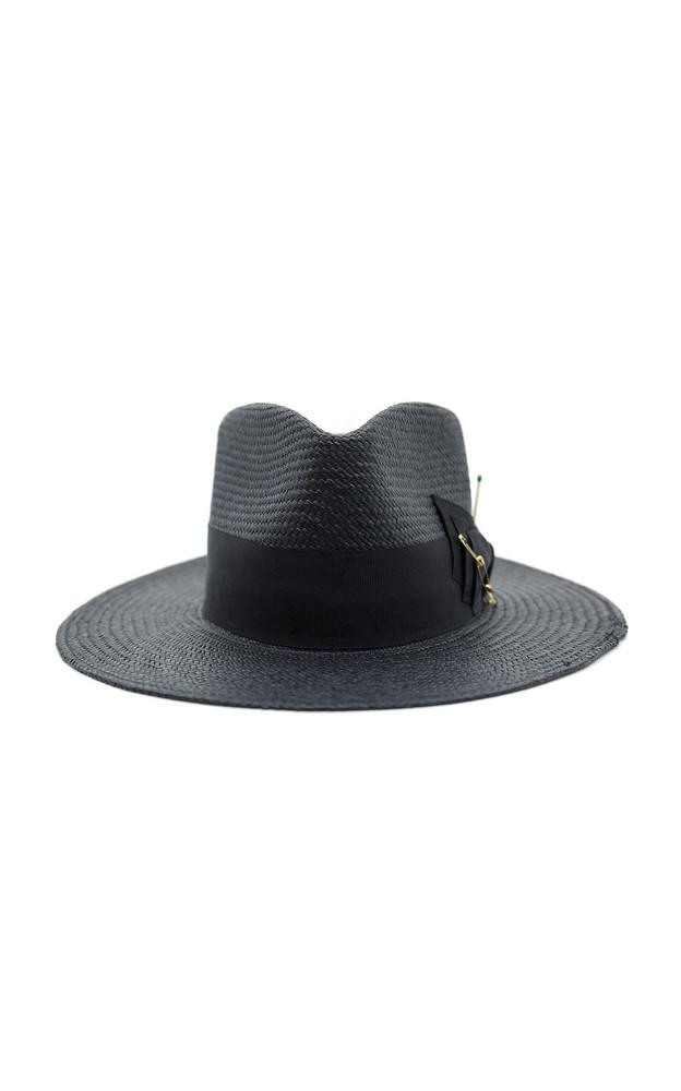 Nick Fouquet Midnight Embellished Straw Hat in black