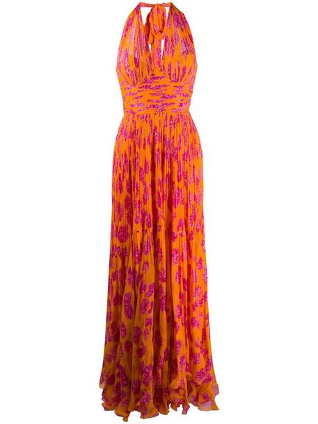 Maria Lucia Hohan Paola pleated long dress in orange